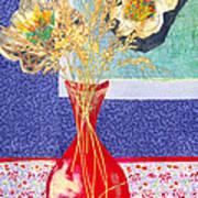 Red Vase I Print by Diane Fine