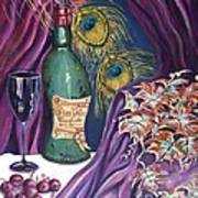 Red Wine And Peacock Feathers Print by Caroline Street