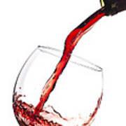 Red Wine Pouring Into Wineglass Splash Print by Dustin K Ryan