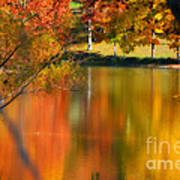 Reflection  Of My Thoughts  Autumn  Reflections Print by Peggy  Franz