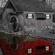 Reflection Of Red Mill Print by Bill Woodstock