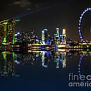 Reflections At Marina Bay Print by Jenny Zhang