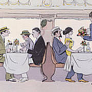 Restaurant Car In The Paris To Nice Train Print by Sem
