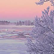 River In Winter Print by Conny Sjostrom