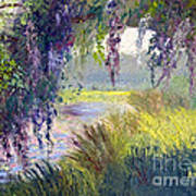 River Through The Moss Print by Patricia Huff