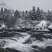 Riverfront Park Winter Storm - Spokane Washington Print by Daniel Hagerman