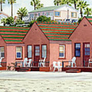 Robert's Cottages Oceanside Print by Mary Helmreich
