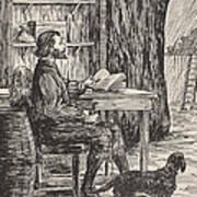 Robinson Crusoe In His Cave Print by English School