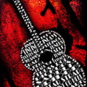 Rockin Guitar In Red Typography Print by Andee Design