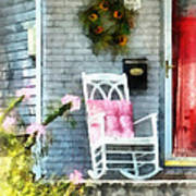 Rocking Chair With Pink Pillow Print by Susan Savad