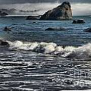 Rocks In The Surf Print by Adam Jewell