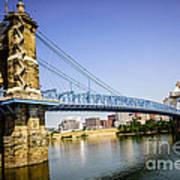 Roebling Bridge In Cincinnati Ohio Print by Paul Velgos