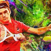 Roger Federer Print by RochVanh