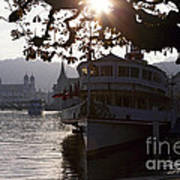 Romantic Afternoon Scenic In Lucerne Print by George Oze
