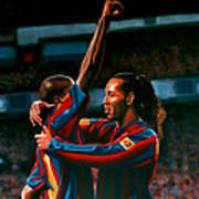 Ronaldinho And Eto'o Print by Paul Meijering