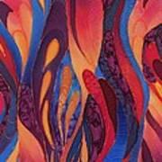 Rose And Blue Silk Design 2 Print by Sharon Freeman