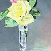 Roses In A Champagne Glass Print by Edouard Manet