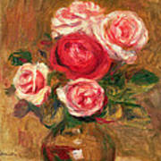 Roses In A Pot Print by Pierre Auguste Renoir