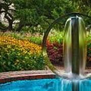 Round Water Sculpture Prescott Park Garden  Print by Jeff Sinon