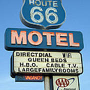 Route 66 Motel Sign 3 Print by Bob Christopher