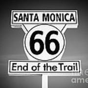 Route 66 Sign In Santa Monica In Black And White Print by Paul Velgos