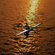 Rowing Into The Sunset Print by Bill Cannon