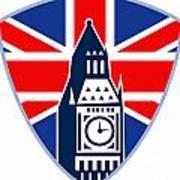 Runner Sprinter Start British Flag Shield Print by Aloysius Patrimonio