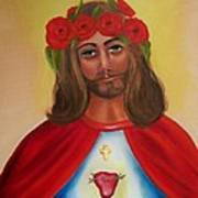 Sacred Heart- Crown Of Roses Print by Joni McPherson