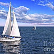 Sailboats At Sea Print by Elena Elisseeva