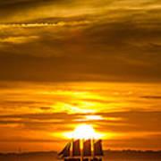Sailing Yacht Schooner Pride Sunset Print by Dustin K Ryan