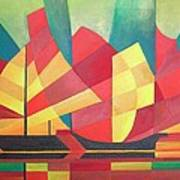 Sails And Ocean Skies Print by Tracey Harrington-Simpson