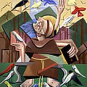 Saint Francis Sermon To The Birds Print by Anthony Falbo
