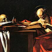 Saint Jerome Writing Print by Caravaggio