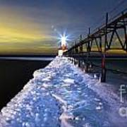 Saint Joseph Pier And Light Print by Twenty Two North Photography
