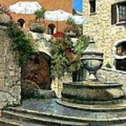 Saint Paul De Vence Fountain Print by Michael Swanson