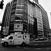 Saint Vincent Catholic Medical Centre Ambulance Crossing 6th Avenue And Broadway Print by Joe Fox
