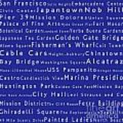 San Francisco In Words Blue Print by Sabine Jacobs