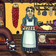 San Pascual Making Biscochitos Print by Victoria De Almeida