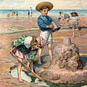Sand Castles At The Beach Print by Unknown