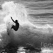 Santa Cruz Surfer Black And White Print by Paul Topp