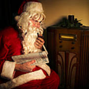 Santa Listening To The Weather Report Print by Diane Diederich