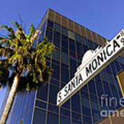 Santa Monica Blvd Sign In Beverly Hills California Print by Paul Velgos
