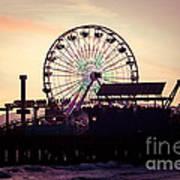Santa Monica Pier Ferris Wheel Retro Photo Print by Paul Velgos