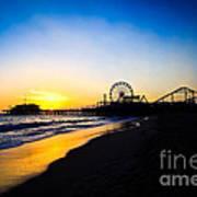 Santa Monica Pier Pacific Ocean Sunset Print by Paul Velgos