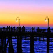 Santa Monica Pier Sunset Silhouettes Print by Lynn Bauer