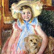 Sara And Her Dog Print by Mary Stevenson Cassatt