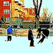 Saturday Afternoon Hockey Practice At The Neighborhood Rink Montreal Winter City Scene Print by Carole Spandau