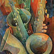 Saxophones And Bass Print by Susanne Clark