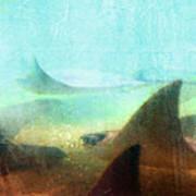 Sea Spirits - Manta Ray Art By Sharon Cummings Print by Sharon Cummings