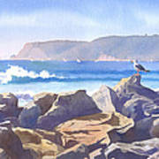 Seagull And Point Loma Print by Mary Helmreich